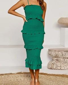 Zielona sukienka Kendallme z okrągłym dekoltem midi