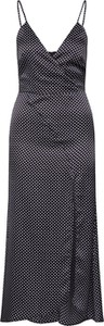 Czarna sukienka Missguided z satyny maxi z dekoltem w kształcie litery v