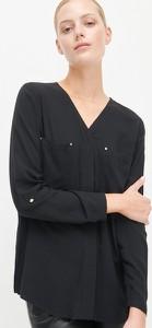 Czarna bluzka Reserved z długim rękawem z dekoltem w kształcie litery v