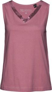 Różowa bluzka bonprix z dekoltem w kształcie litery v w stylu casual