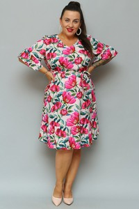 Sukienka KARKO z tkaniny z długim rękawem midi