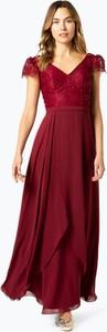Czerwona sukienka Luxuar Fashion z szyfonu z krótkim rękawem maxi