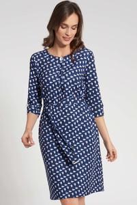 Niebieska sukienka QUIOSQUE mini z długim rękawem w stylu casual