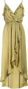 Zielona sukienka Multu na ramiączkach asymetryczna z dekoltem w kształcie litery v