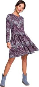 Sukienka Be mini z dzianiny z długim rękawem