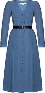 Niebieska sukienka Michael Kors midi z długim rękawem z dekoltem w kształcie litery v