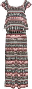 Sukienka bonprix RAINBOW midi z krótkim rękawem z dekoltem w łódkę