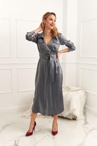 Sukienka Fasardi maxi z długim rękawem