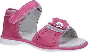 Różowe buty dziecięce letnie Casu na rzepy w kwiatki