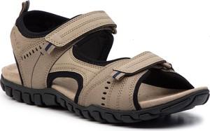 Brązowe buty letnie męskie Geox na rzepy w stylu casual