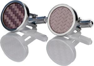 Em Men`s Accessories Spinki do mankietów klasyczne srebrne okrągłe z różowym oczkiem EM 11