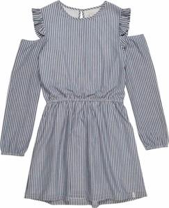 Niebieska sukienka dziewczęca Esprit z bawełny w paseczki
