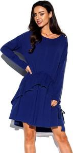 Niebieska sukienka Lemoniade oversize z długim rękawem