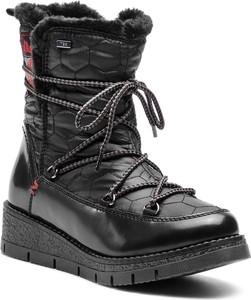65fecbdab3fed7 Czarne śniegowce S.Oliver z płaską podeszwą w stylu casual sznurowane