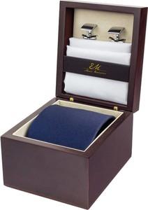 Zestaw ślubny dla mężczyzny klasyczny w kolorze granatowym: krawat + poszetka + spinki zapakowane w pudełko EM 43