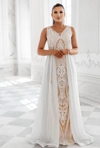 Sukienka Sukienki M&M z satyny z dekoltem w kształcie litery v maxi