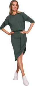 Zielona sukienka MOE w stylu casual z okrągłym dekoltem