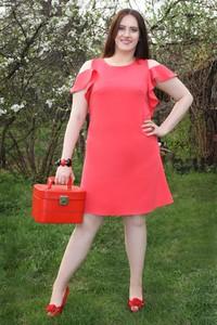 Sukienka Oscar Fashion trapezowa z krótkim rękawem z okrągłym dekoltem
