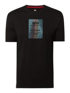 Czarny t-shirt Alpha Industries z krótkim rękawem z nadrukiem w młodzieżowym stylu