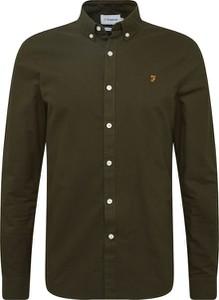 Zielona koszula Farah Vintage z bawełny z kołnierzykiem button down