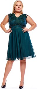 Zielona sukienka Fokus z szyfonu dla puszystych