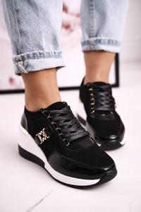 Czarne buty sportowe S.Barski sznurowane