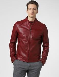 Czerwona kurtka Strellson w stylu casual ze skóry