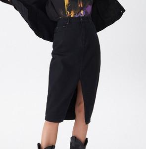 Czarna spódnica House w street stylu z jeansu midi