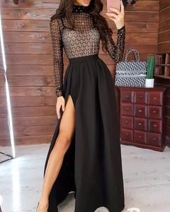 Sukienka Kendallme z dekoltem w kształcie litery v maxi z długim rękawem