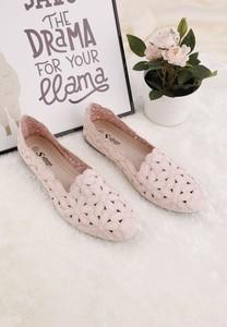 Baleriny Yourshoes z płaską podeszwą w stylu casual ze skóry ekologicznej