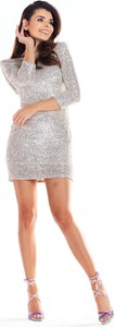 Srebrna sukienka Awama w stylu casual dopasowana mini