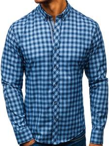 Niebieska koszula Denley ze skóry z kołnierzykiem button down z długim rękawem