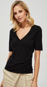 Bluzka Moodo w stylu casual z krótkim rękawem z bawełny