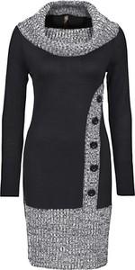 Czarna sukienka bonprix BODYFLIRT boutique w stylu casual midi dopasowana