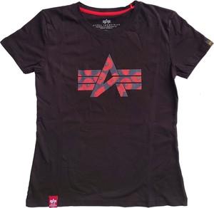 Czarny t-shirt Alpha Industries z okrągłym dekoltem z krótkim rękawem