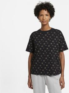 Czarny t-shirt Nike z okrągłym dekoltem z krótkim rękawem