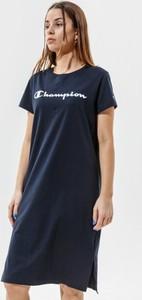 Czarna sukienka Champion mini z okrągłym dekoltem z krótkim rękawem