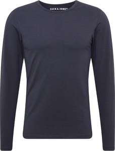 Granatowy t-shirt Jack & Jones w stylu casual z długim rękawem z dżerseju