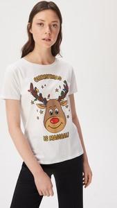 T-shirt Sinsay z okrągłym dekoltem z krótkim rękawem z nadrukiem