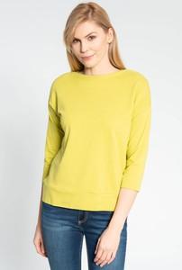 Żółta bluzka QUIOSQUE z okrągłym dekoltem w stylu casual z długim rękawem