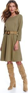 Sukienka Top Secret z długim rękawem koszulowa z okrągłym dekoltem