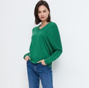 Zielona bluzka Mohito z dekoltem w kształcie litery v z długim rękawem