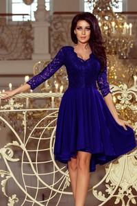Niebieska sukienka NUMOCO midi z dekoltem w kształcie litery v z długim rękawem
