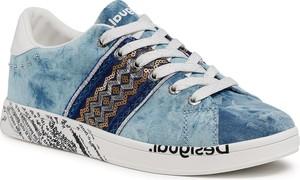 Niebieskie buty sportowe Desigual z płaską podeszwą sznurowane