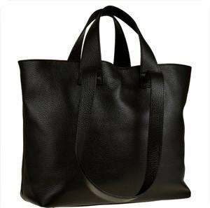 Czarna torebka Vera Pelle duża matowa ze skóry