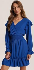 Niebieska sukienka Renee z długim rękawem z dekoltem w kształcie litery v