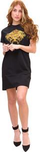 Czarna sukienka Versace Jeans mini z okrągłym dekoltem w stylu casual