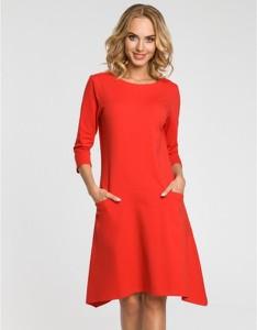 Czerwona sukienka MOE z bawełny