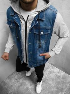 Niebieska kurtka ozonee.pl krótka z jeansu w stylu casual