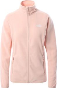 Różowa kurtka The North Face krótka z polaru w sportowym stylu